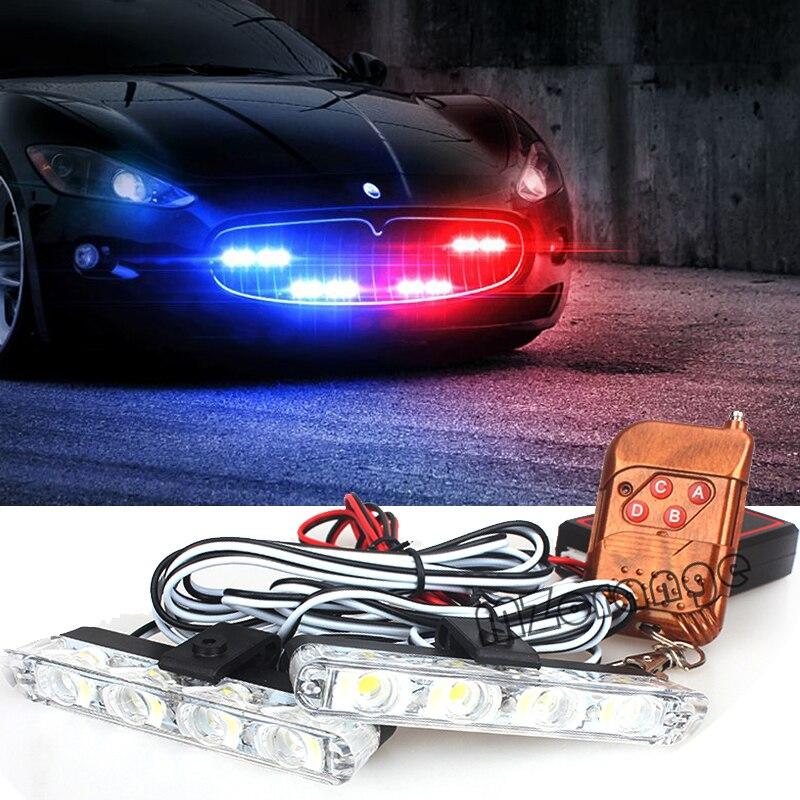 Luz de advertencia estroboscópica 2x4 LED para automóviles 12V Control remoto intermitente de emergencia intermitente coche camión DRL Luz de circulación diurna