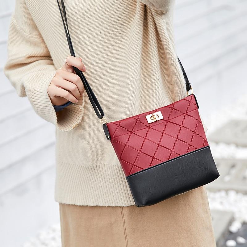 Fashion Shoulder Bag Women Small Handbag Rhombic Patchwork Ladies Purse