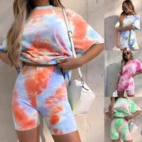 2021 new womens fashion tie dye gradient loose casual t shirt tight shorts two piece suit