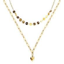 2020 nouvelle mode Double couche paillettes collier ras du cou pour les femmes coeur pendentif colliers bijoux à breloques