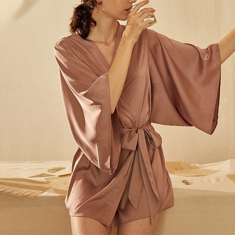 QWEEK шелковые свадебные халаты подружки невесты, Женский пятнистый сексуальный халат, одежда для сна, Женские кимоно, летнее Ночное платье 2021...
