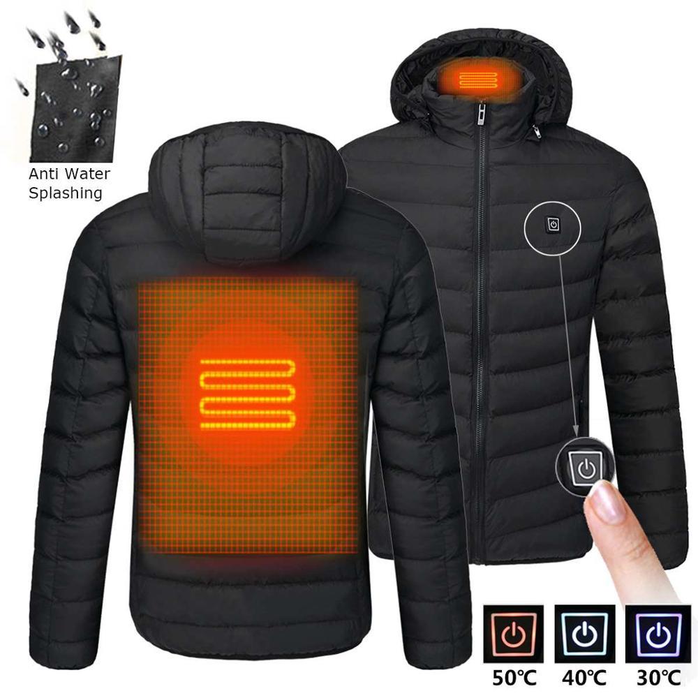 2021 NWE الرجال شتاء دافئ USB التدفئة جاكيتات منظم حراري ذكي لون نقي مقنعين ملابس ساخنة مقاوم للماء جاكيتات دافئة