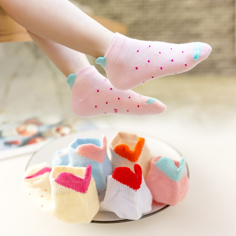 5 Paris/Lot Children Girl Socks Cute Baby Heart Star Cartoon Mesh Ankle Boys Socks Kids Clothing Accessories