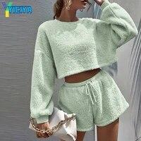 yiciya women velvet two piece set casual plush loungewear outfit winter crop top drawstring shorts suits tracksuit women y2k met