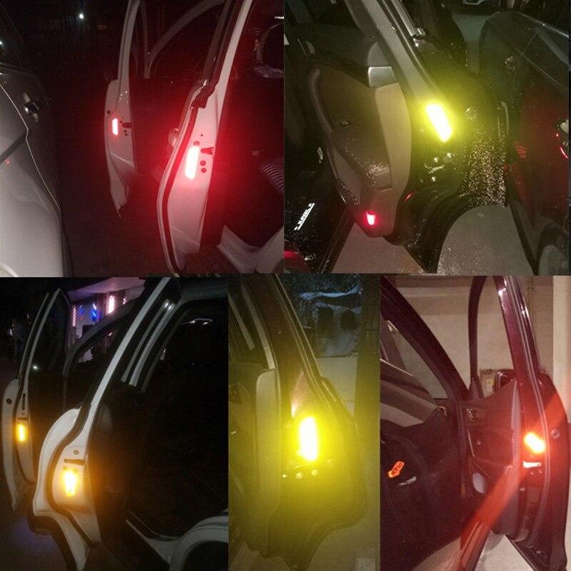 4 Uds Puerta de coche pegatina calcomanía cinta de advertencia coche reflectante tiras reflectantes coche-estilo 5 colores marca de seguridad coche pegatinas