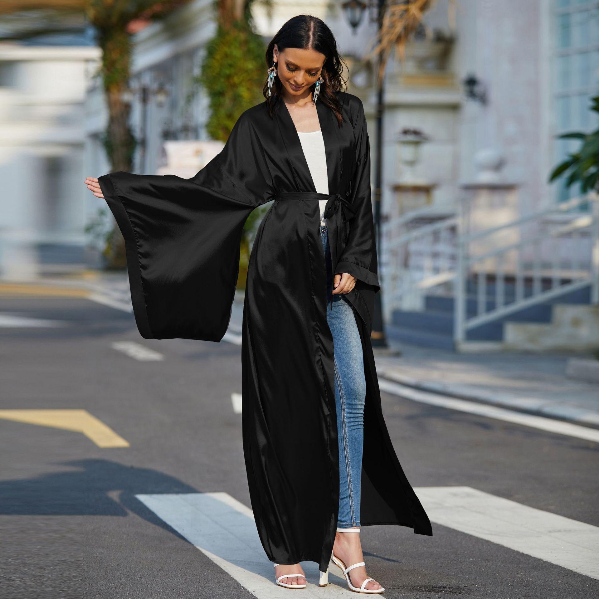 Eid Mubarak Open Abaya Kimono Muslim Hijab Dress Turkey Satin Abayas for Women Dubai Long Dresses Islam Clothing Moroccan Kaftan