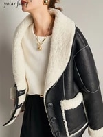 natural real fur coat women winter jacket korean sheep shearling coats warm wool fur lining leather coats and jackets women 2020
