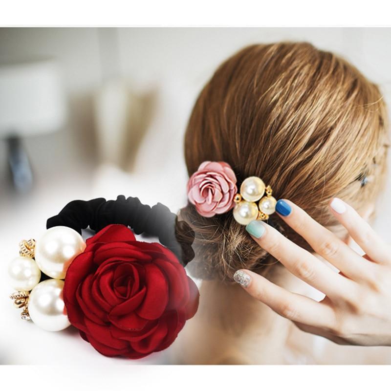 Women Fashion Big Rose Flower Hair Accessories  Rhinestone Hair Bands Elastic Hair Rope Ring 6 Colors For Girls 2019
