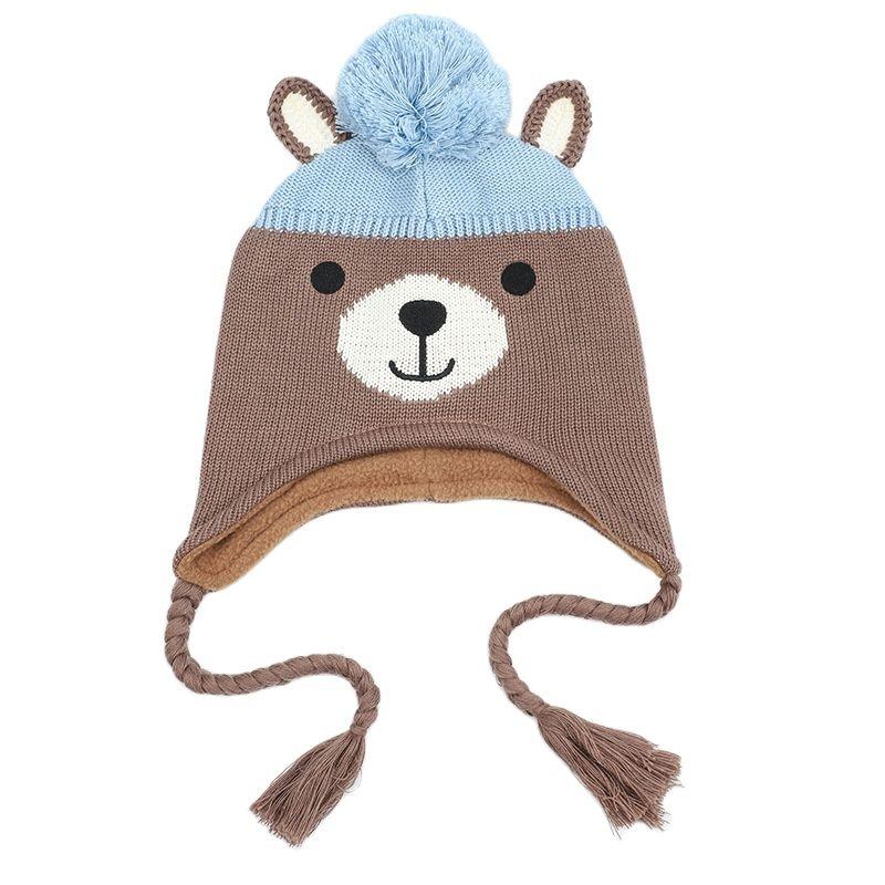 2021 Autumn Winter Cartoon Bear Children Hat for Baby Boys Girls Kids Knitted Cap Warm