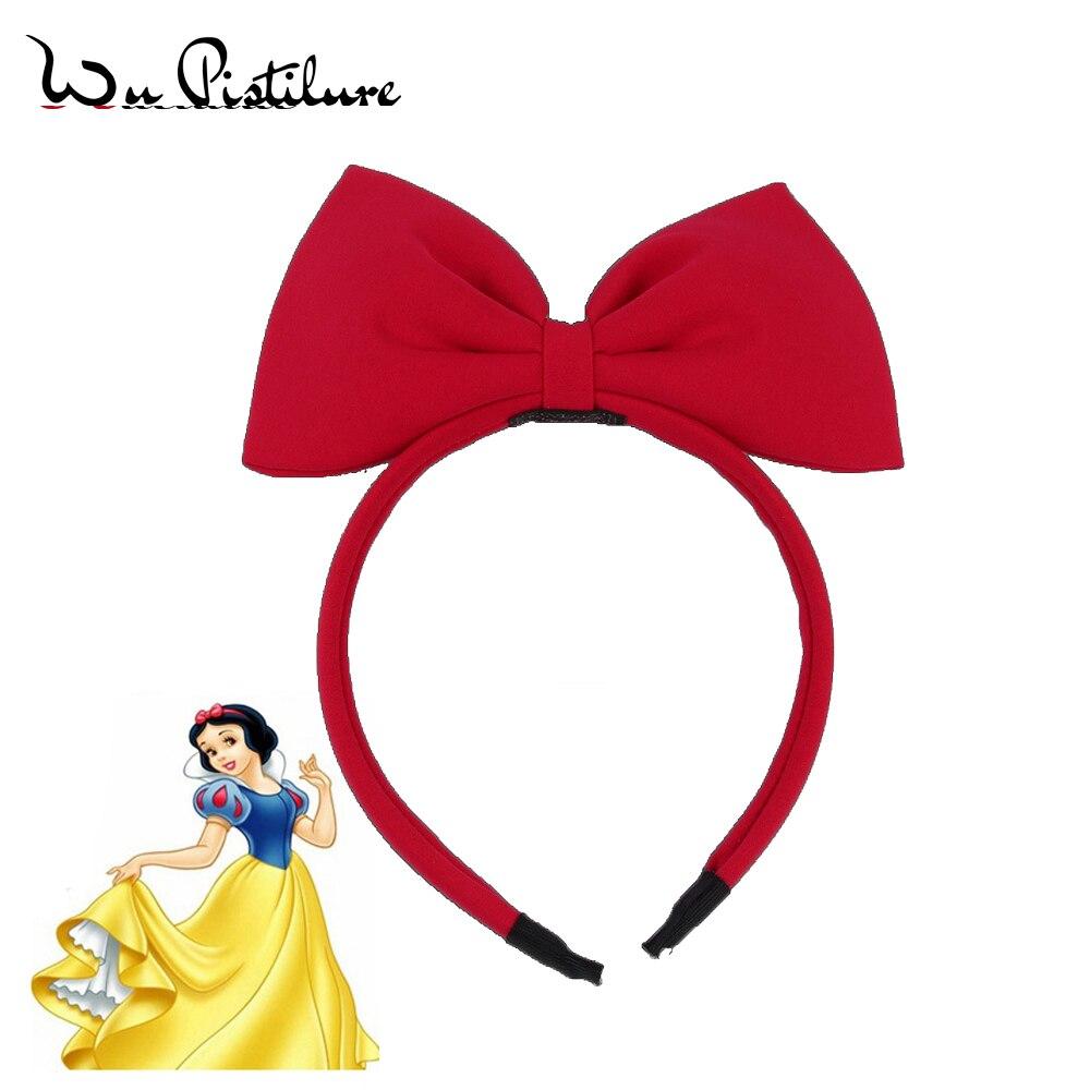 Blancanieves diadema grande roja diadema en forma de lazo niñas tela diadema Niños Accesorios para el cabello Navidad diadema fiesta tela de banda para cabello