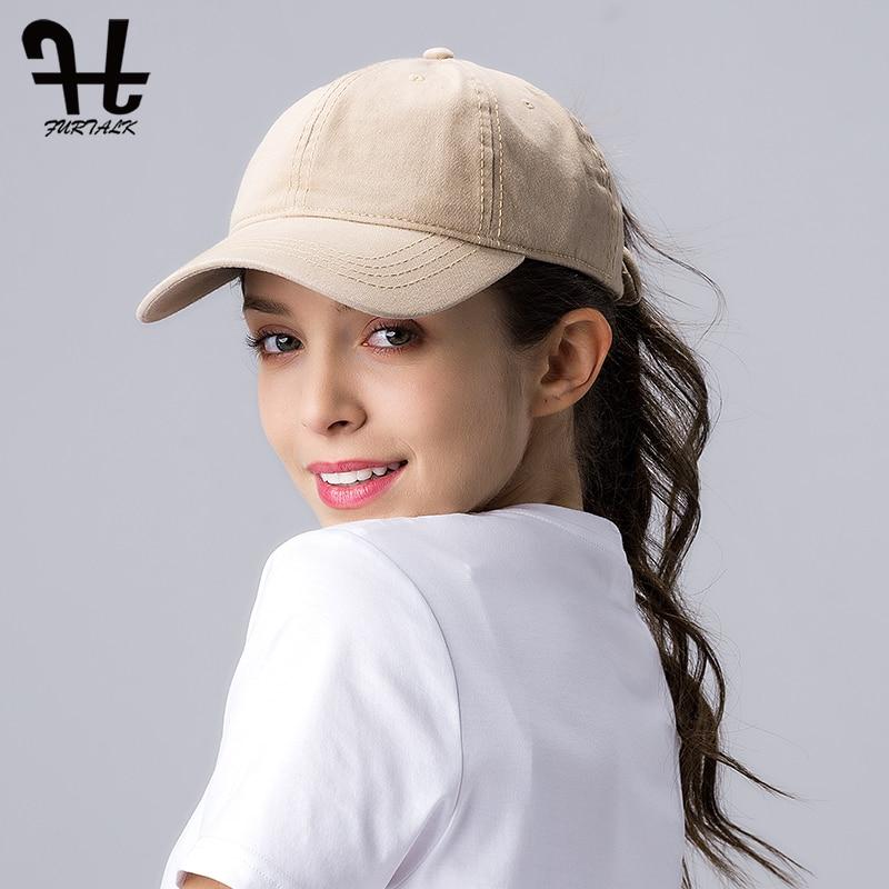 FURTALK Ponytail Baseball Cap for Women Vintage Black Baseball Caps Mens Snapback Hip Pop Cap Washed Cotton Hat for Female
