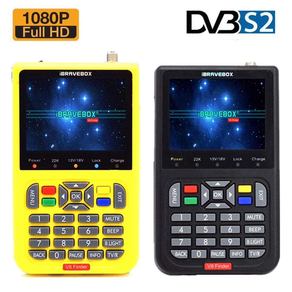 IBRAVEBOX-Localizador satélite V8 Finder, H.264, 1080P, Full HD, DVB-S2, Digital FTA, pantalla LCD de 3,5 pulgadas, batería de 3000mAh integrada, medidor buscador de satélite