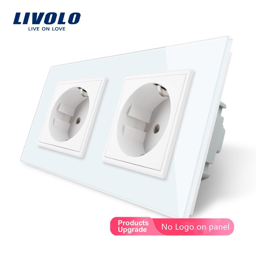 Toma de corriente de pared estándar Livolo EU, Panel de cristal de 4 colores, enchufe de pared de 16A, C7C2EU-11/12/13/15 para la mejora del hogar
