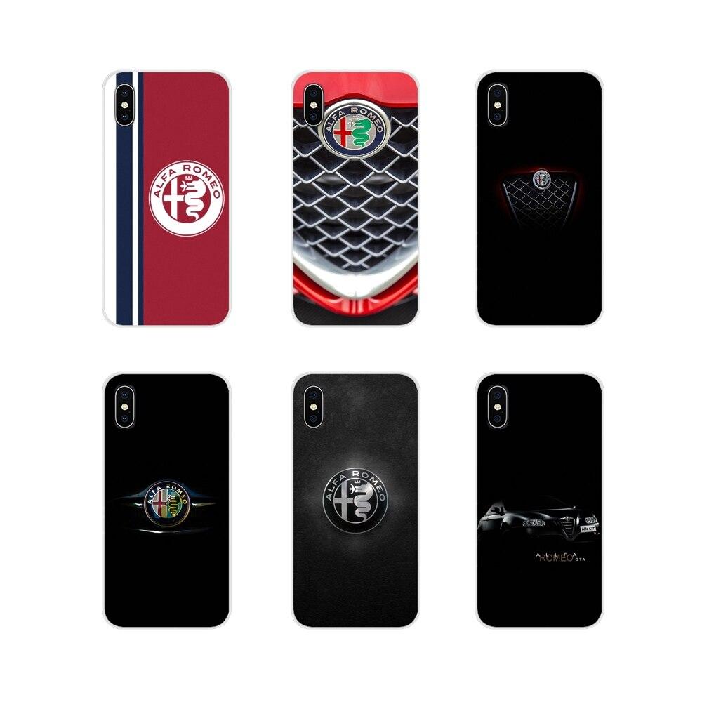 Super carro alfa romeo logotipo para apple iphone x xr xs 11pro max 4S 5S 5c se 6 s 7 8 plus ipod touch 5 6 transparente capa de concha macia