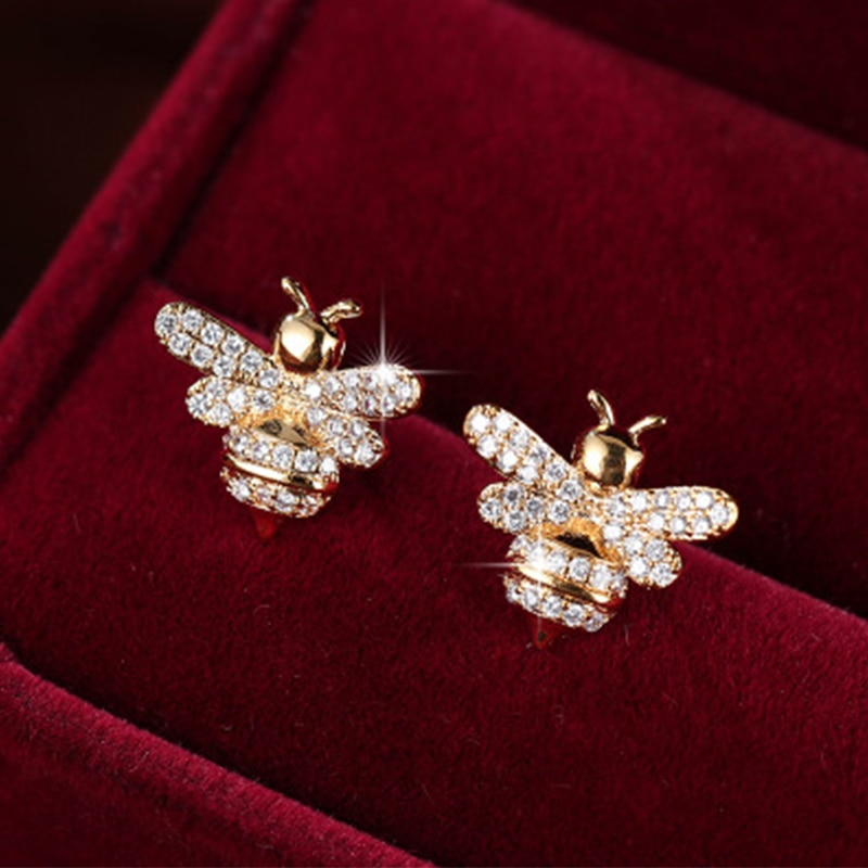 Cute Tiny Rhinestone Bee Earring CZ Cubic Zirconia Crystal Honey Stud Earrings For Women Party Statement Jewelry