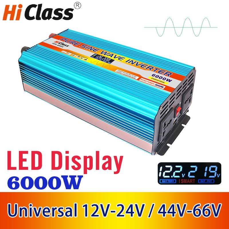 12V-24V Universal Car Inverter 12v 220v Pure sine wave solar power inverter 6000W Dc 12v to Ac 220v With LCD