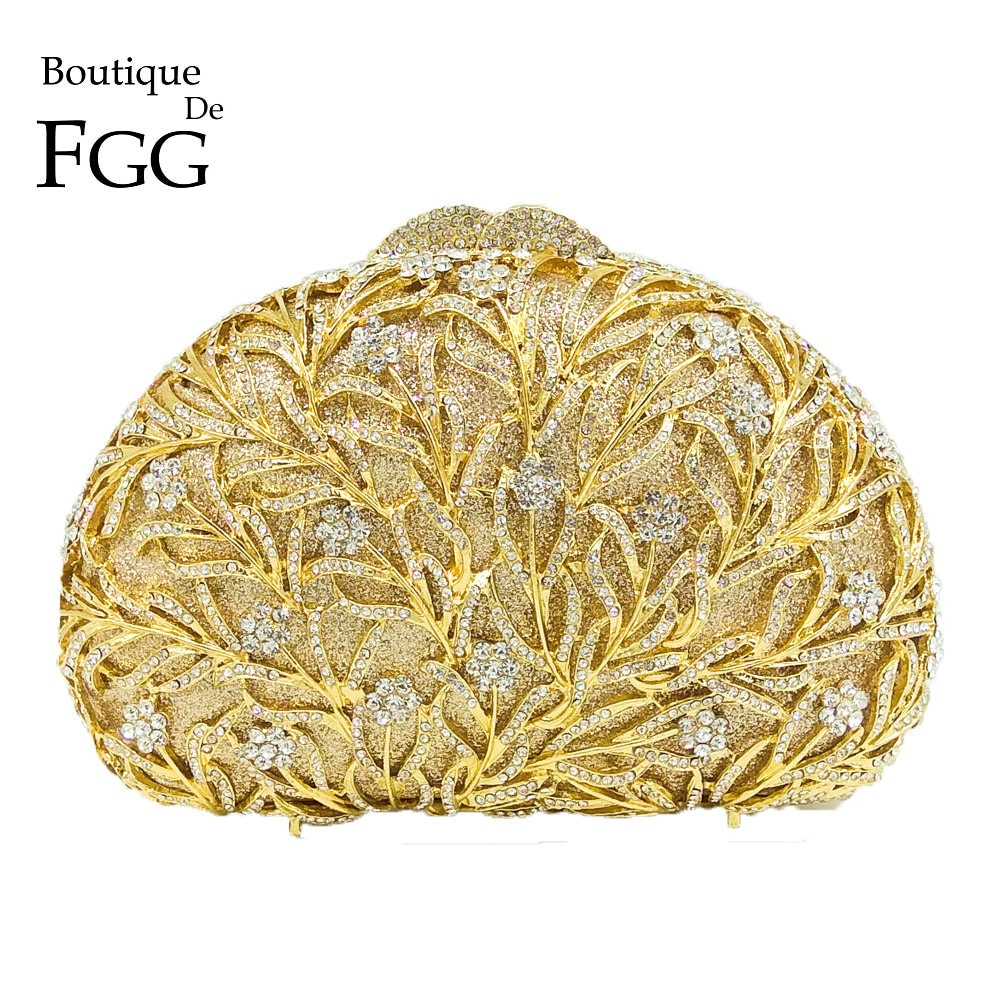 Boutique De FGG-حقيبة يد نسائية لامعة من الكريستال الذهبي ، حقيبة سهرة ، حقيبة يد معدنية لحفلات الزفاف