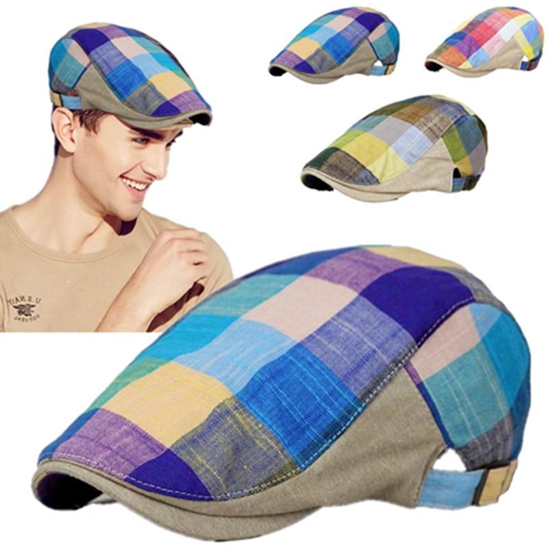 1PC 3Coloes Cotton & Linen Unisex Men Women Grid Gatsby Duckbill Visor Artist Ivy Flat CapBeret Hat Golf Newsboy Sunhat