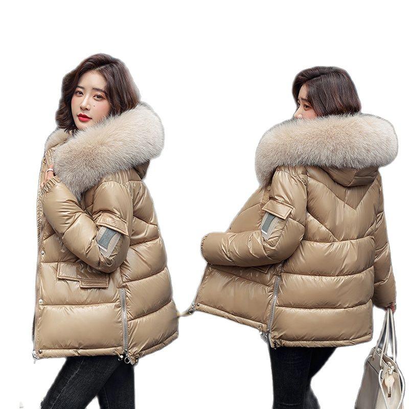 2021 جديد أسفل سترة قطن النساء الإناث جواكت شتوية كبيرة الفراء طوق القطن مبطن الدافئة سميكة السيدات معطف سترات معطف الشتاء