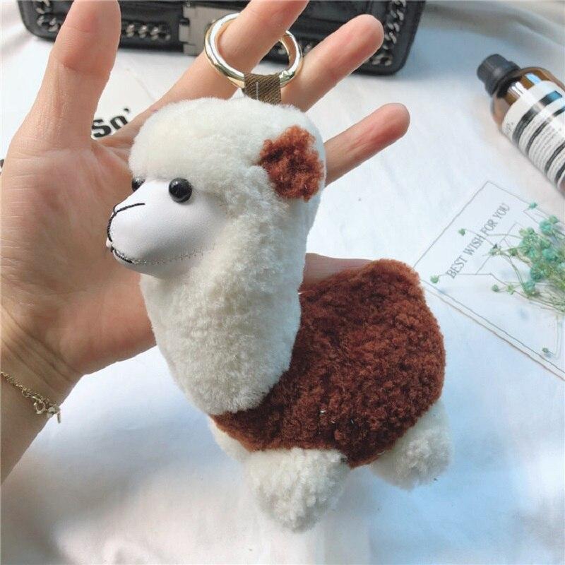 Cute Mini Lama Doll Smiling Alpaca Soft Cotton Animal Plush Stuff Doll Toys Cute Alpaca Keychain Kid Girls  Gift Car Key ring