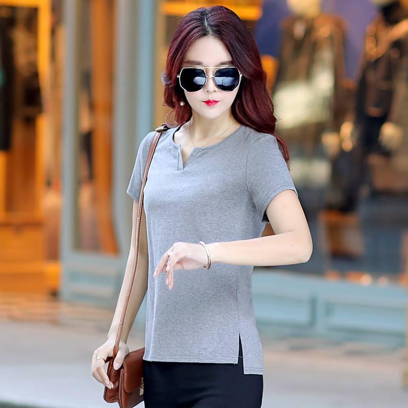 2020 Summer Fashion T Shirt Women Woman  Tshirt dark gray