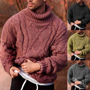 Men Turtleneck Sweaters Plus Size Fashion Autumn Winter Pullovers Full Sleeve Knitted Sweater Lugentolo