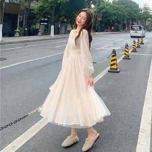 Korean Dress Female Autumn and Winter Inner Wear Outer Wear Sweet Princess Style V-neck Long-Sleeve Dress sweet Lolita dress