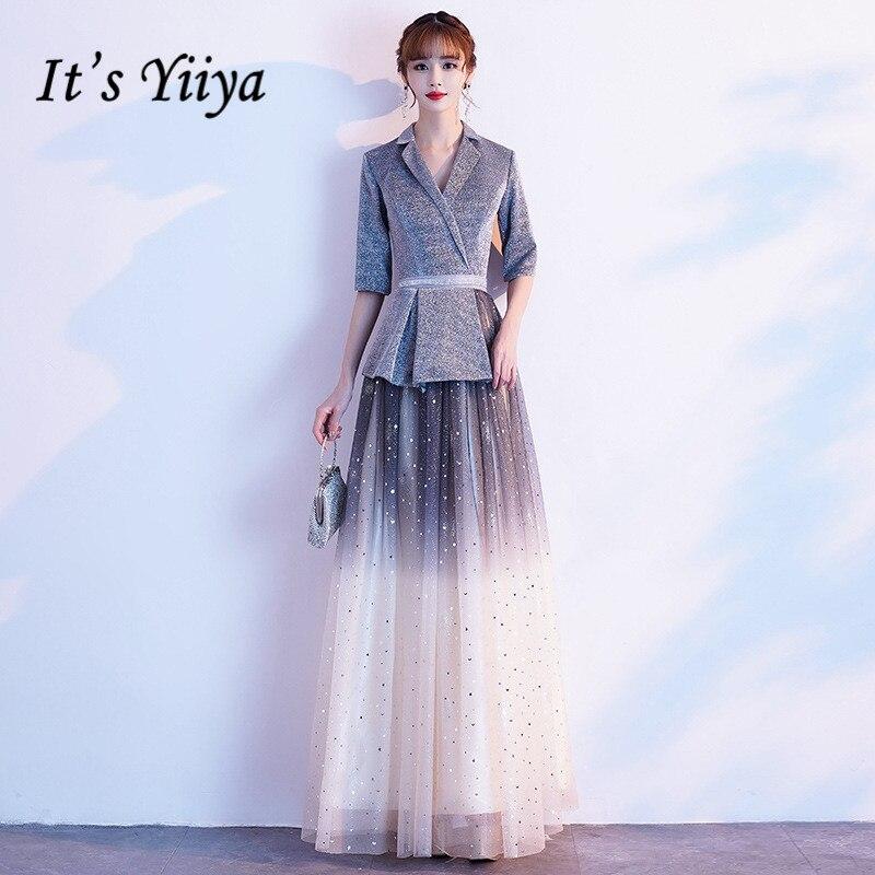 Evening Dresses Long Its Yiiya BR322 Elegant Half Sleeve A Line Robe De Soiree Shining Gradient Gray V-neck Dress 2020