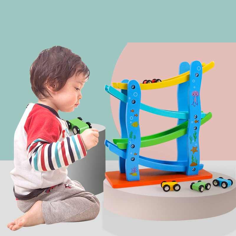 Free Shipping Wooden Classic Roller Coaster Children Toys Miniature Speeding Car Scale Models Game Kids Educational Wood Blocks