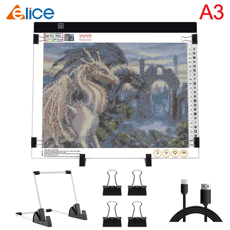 A3 USB مصباح ليد الوسادة Artcraft مربع ضوء التتبع لوحة نسخ الرقمية اللوحي اللوحة الكتابة لوح رسم لوحة الماس اللوحة