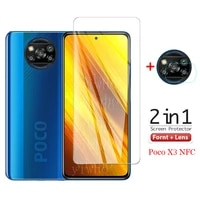 2 in 1 screen protector for poco x3 glass for xiaomi poco x3 tempered glass protective film poco x3 global version camera glass
