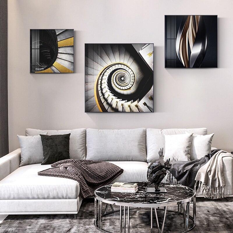 Абстрактный расширение пространства холст живопись спиральные лестницы и искажения постер на космическую тематику стены искусства картин...