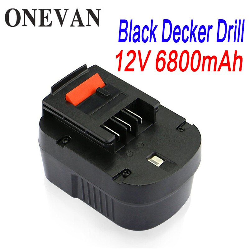 Batería de herramienta recargable de 6800mah y 12V para Black & Decker A12 A12EX FSB12 FS120B A1712 HP12K HP12, recambio para batería de taladro Ni-MH