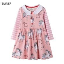 2020 New Spring Kids Dress for Girls Children Printing Dress Girls Cartoon Dresses Toddlers Kids Long Sleeve Cotton Vestidos
