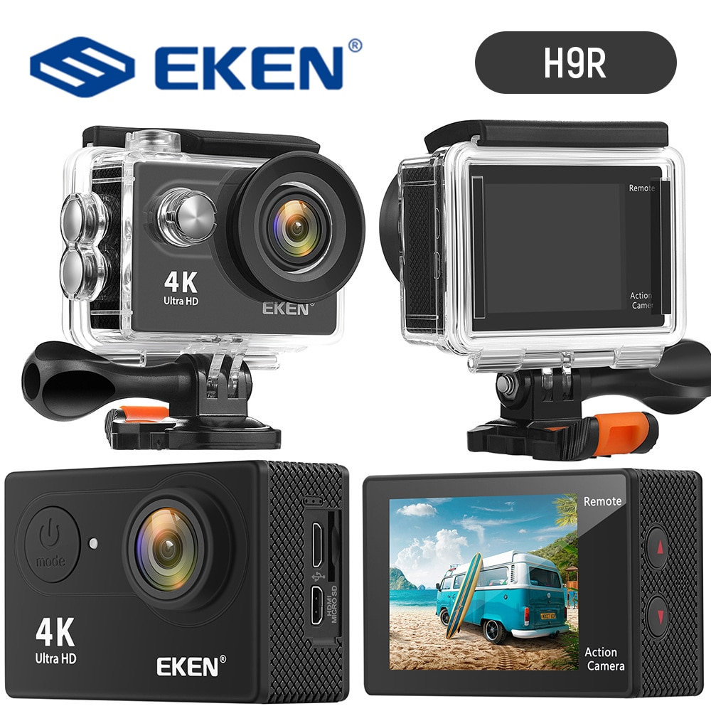 EKEN H9R كاميرا الحركة HD 4K 30fps في الهواء الطلق 170D تحت الماء مقاوم للماء واي فاي كاميرا خوذة فيديو الذهاب الرياضة برو الكاميرا