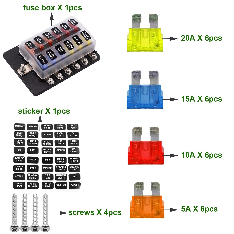 Portafusibles de hoja, bloques de fusibles, terminales indicadoras LED para caja eléctrica de coche, Panel de fusibles automotriz