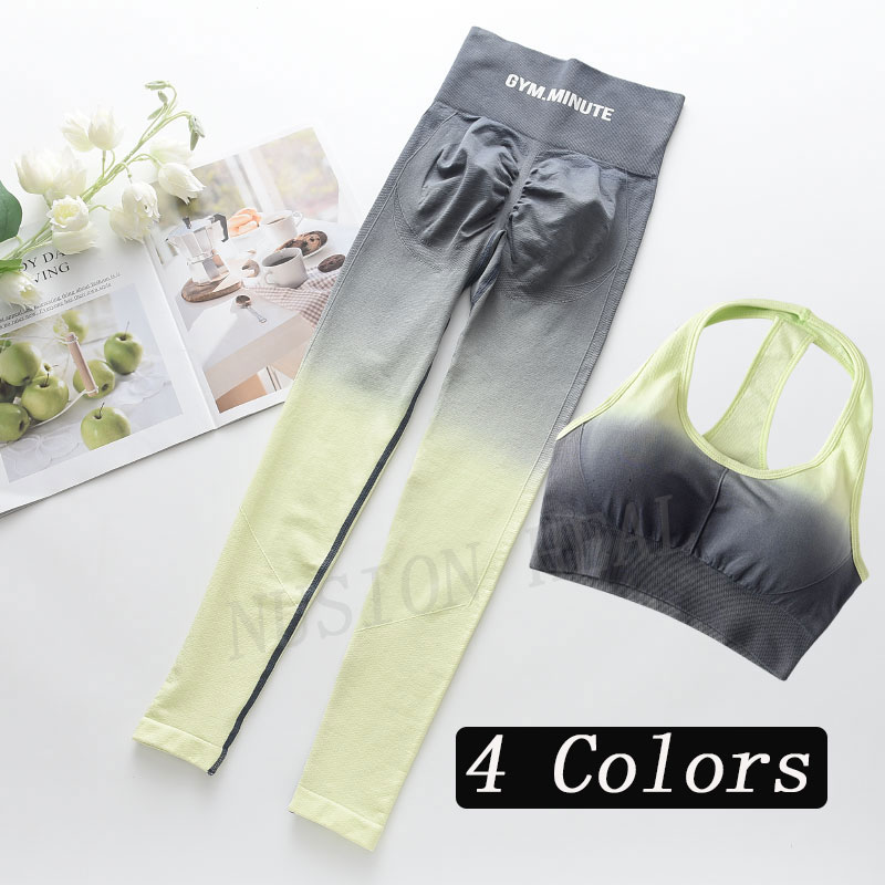 2Pcs Seamless Yoga Set  Gym Fitness Clothing Women Yoga Suit Sportswear Female Workout Leggings Yoga Top Sport Clothes Training