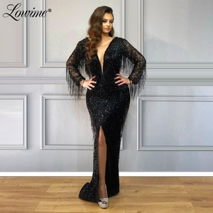 Sexy Tassel Beading Black Party Dress 2020 Couture Dubai Arabic Evening Gown High Front Side Mermaid Prom Dress Robe De Soiree