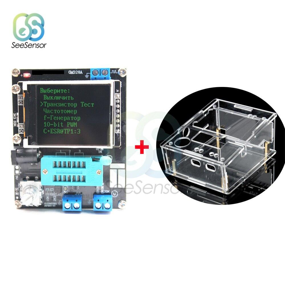 Russo gm328a m328 transistor tester lcr diodo capacitância esr medidor de tensão pwm onda quadrada gerador de sinal de freqüência