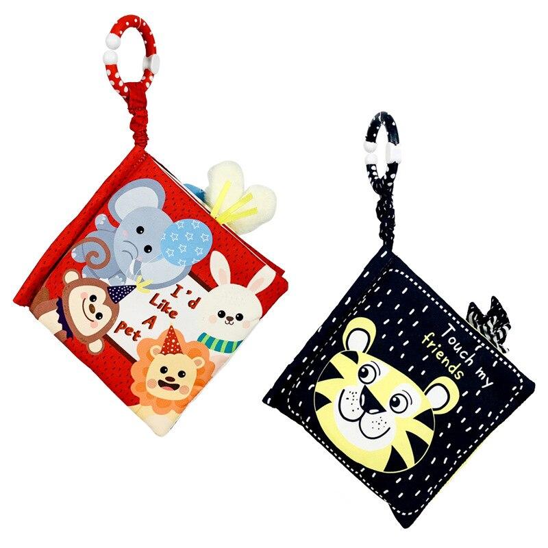 Книжки из мягкой ткани, игрушки для новорожденных, милые Мультяшные животные, детские черно-белые познавательные Развивающие игрушки для д...