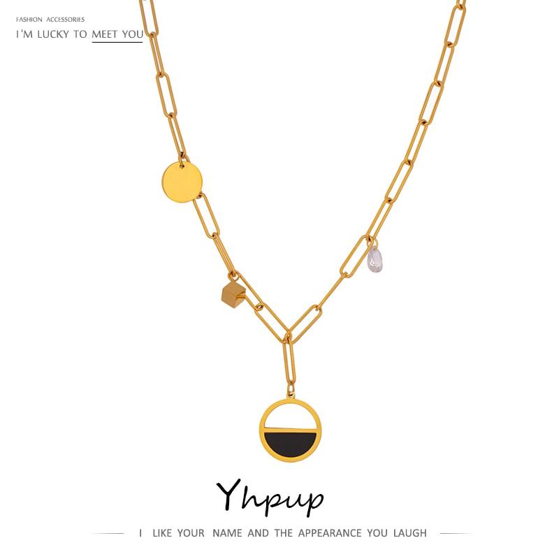 Yhpup coreano redondo pingente de aço inoxidável colar delicado zircônia cúbica temperamento gargantilha colar presente da dama de honra 2020
