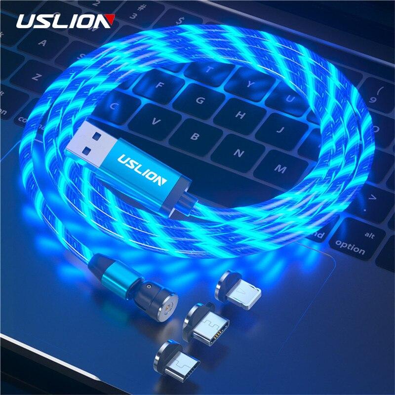 USLION-Cable Micro USB tipo C magnético 540, iluminación LED, 3 en 1,...