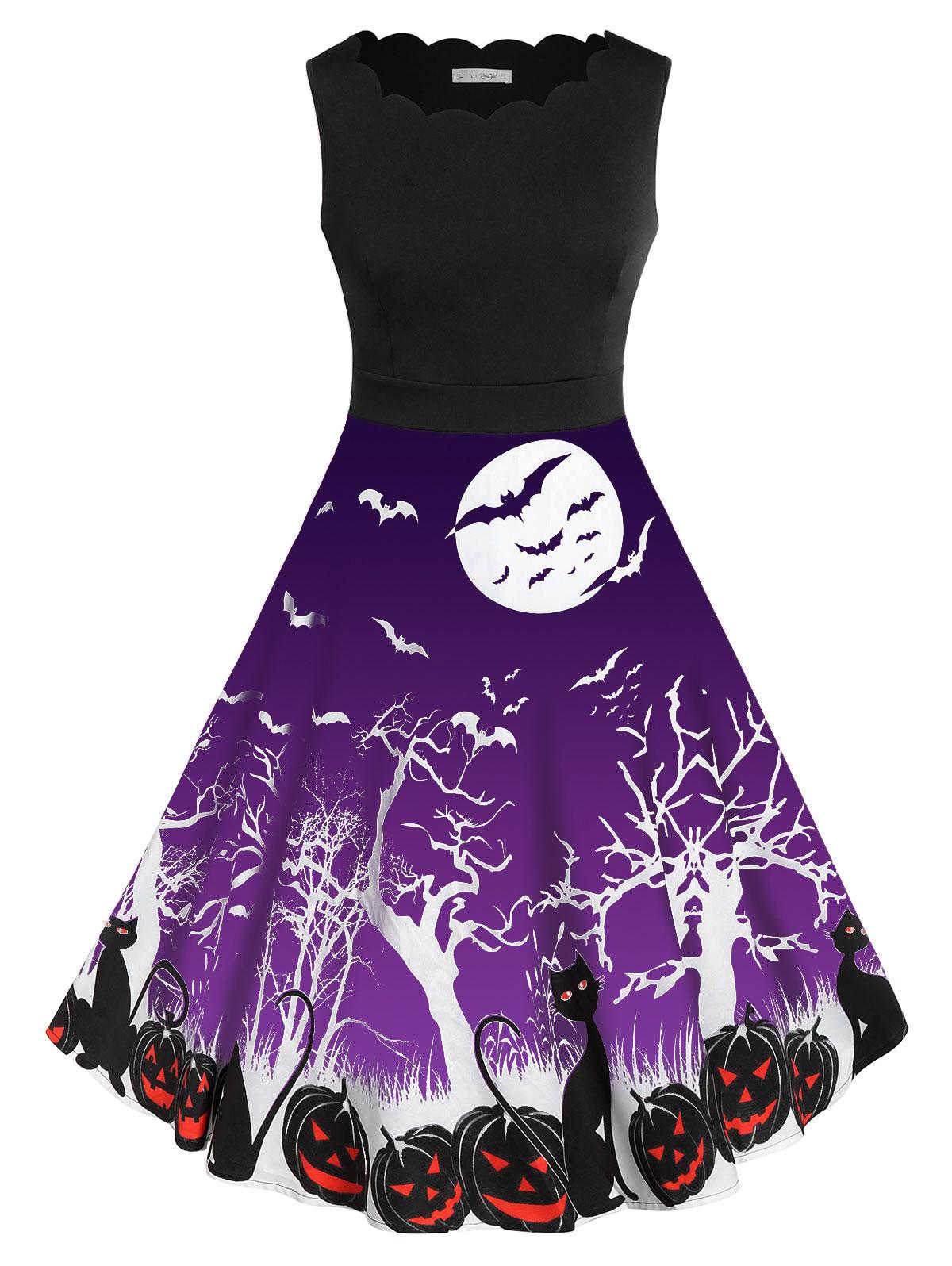 Rosegal Halloween Bat calabaza imprimir Vestido Mujer Vintage grande de talla grande 5XL A-Line vestido Swing Rockabilly Pin Up Retro vestidos