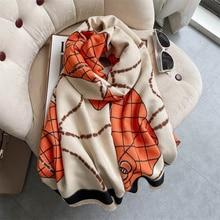 Women Cashmere Scarf Hijab Luxury Plain Chain Warm Winter Foulard Thick Blanket Shawl Wraps Bufanda