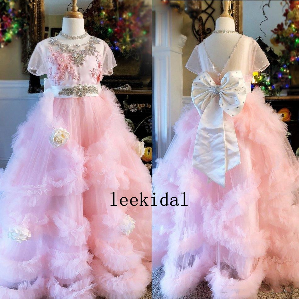 2020 Pink Flower Girls Dresses Jewel Neck Beads Hand Made Flowers Bow Tulle Pageant Dresses Floor Length Girls Party Gowns
