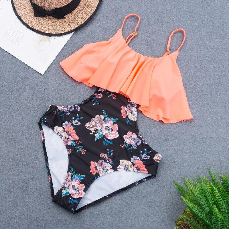 Цветочный цельный купальный костюм, новинка 2021, винтажная одежда для плавания, женская одежда для плавания с оборками, открытый купальный к...