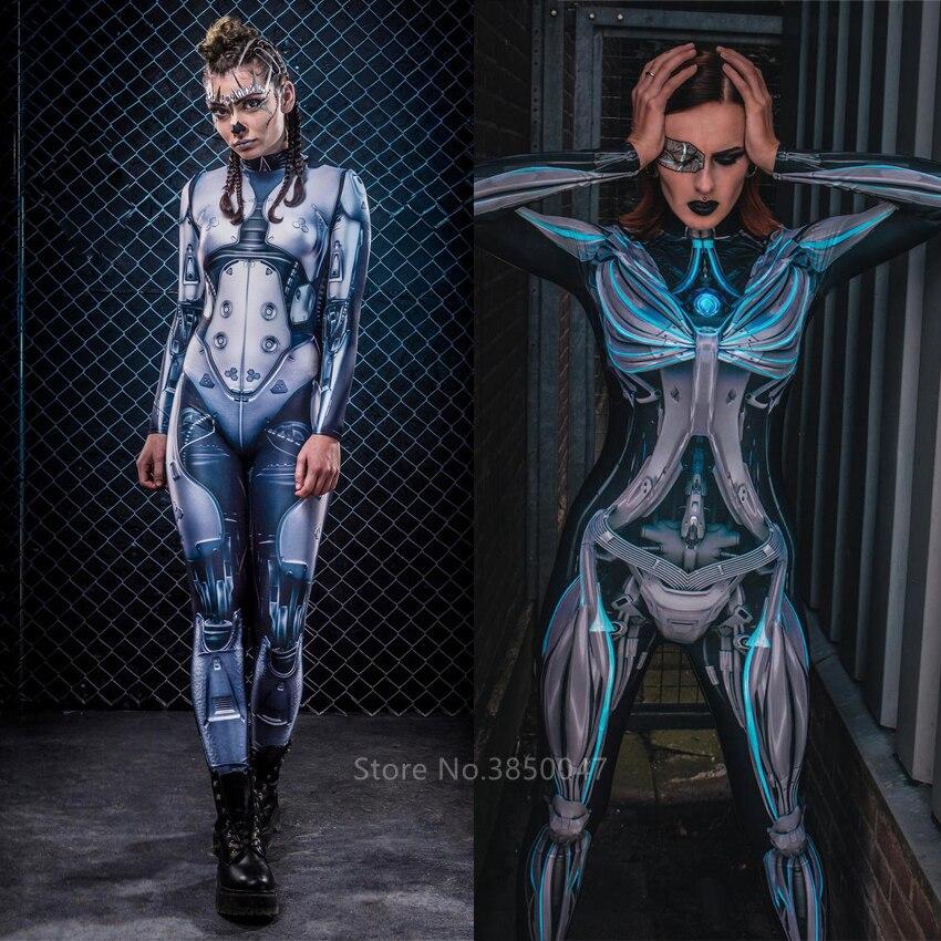 Adulto disfraz de Halloween para mujeres Sexy gótico mono Steampunk Ciencia ficción Ropa mujer Robot azul Guerrero Cosplay traje