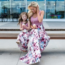 Mother Daughter Dresses For Women 2020 Family Matching Clothes Outfits Sleeveless Long Summer Dress