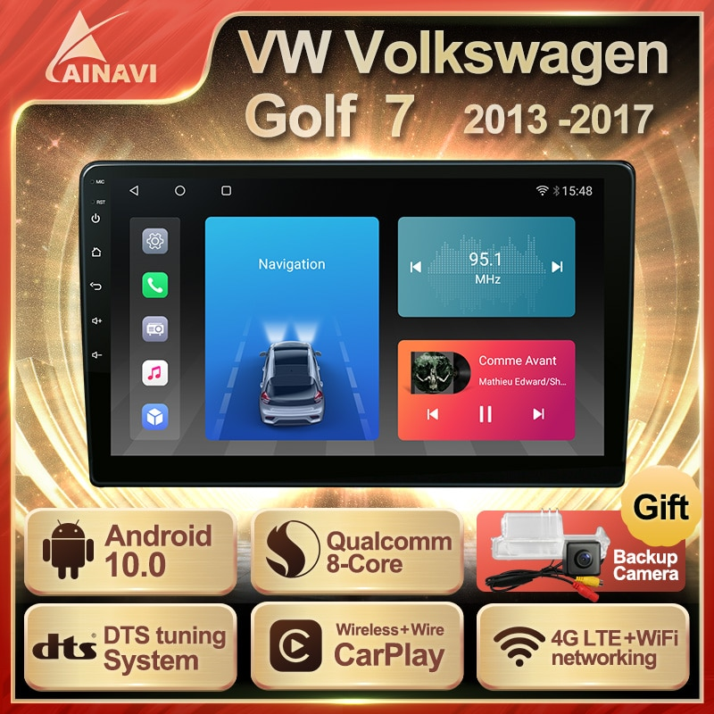Car Radio Android 10 QLED For Volkswagen Golf 7 R VII MK7 2013-2017 Auto Stereo Multimedia Video Player Navi GPS Carplay NO 2din