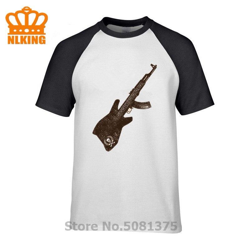 AK 47 guitarra Slim Fit camiseta guitarrista calavera diseño creativo camisetas 100% algodón divertida impresión camiseta hombres camisas hombre tops Tees